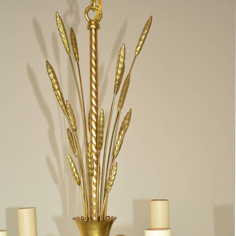 Mid-Century brass chandelier with a