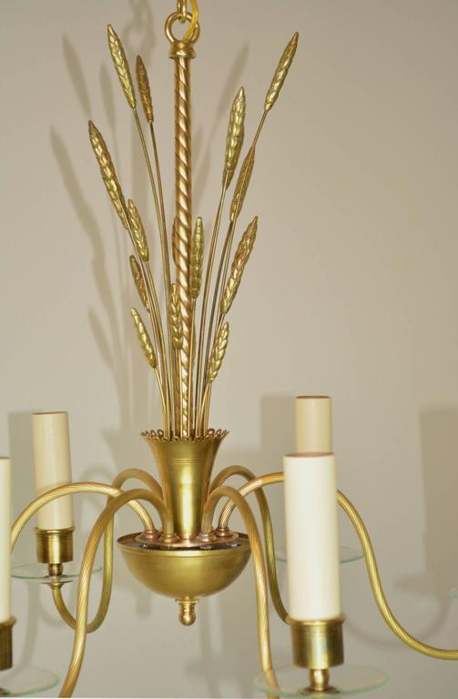 American Mid-Century Modern Brass and Glass Chandelier For Sale