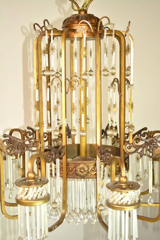 Art Deco Waterfall Chandelier In Good Condition For Sale In Palm Springs, CA