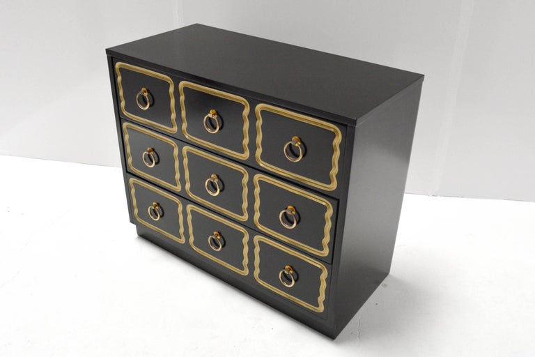 "A three-drawer ""Espana"" chest by Dorothy Draper for Heritage Henredon. Re-lacquered."