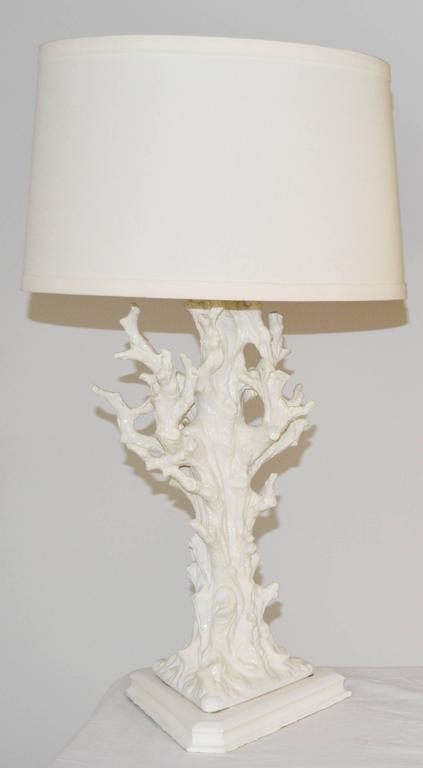 Pair of Italian Faux Bois Ceramic Lamps In Good Condition For Sale In Palm Springs, CA