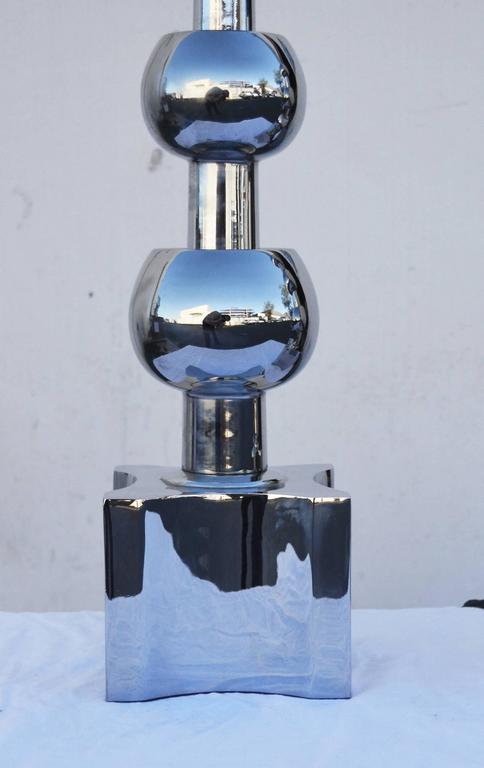 Mid-Century Modern Pair of Nickel Stiffel Lamps For Sale