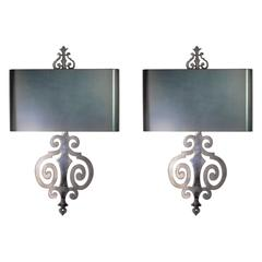 Pair of Maison Charles Steel Sconces