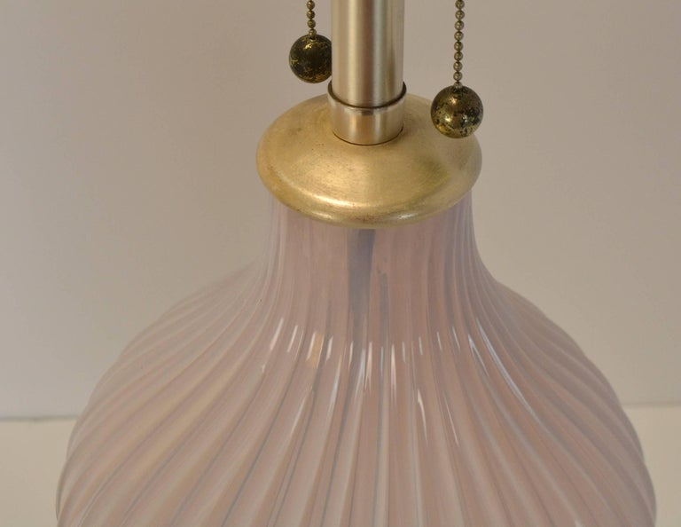 Silvered Pair of Blush Pink Murano Glass Marbro Lamps, 1960s For Sale