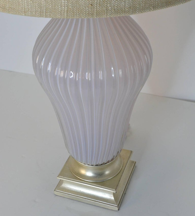 Pair of Blush Pink Murano Glass Marbro Lamps, 1960s In Good Condition For Sale In Palm Springs, CA