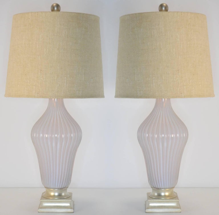 Hollywood Regency Pair of Blush Pink Murano Glass Marbro Lamps, 1960s For Sale