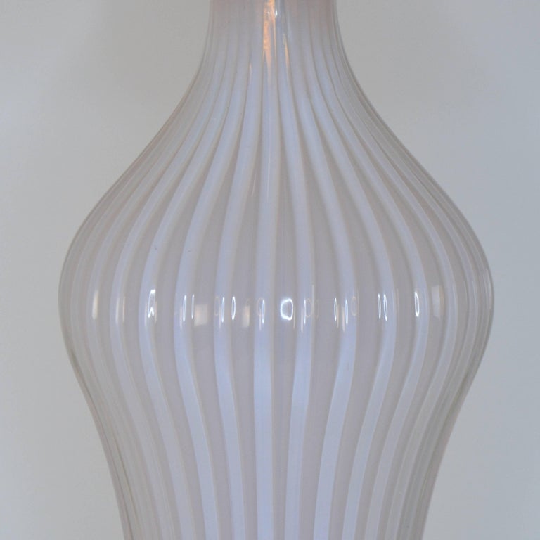 Italian Pair of Blush Pink Murano Glass Marbro Lamps, 1960s For Sale