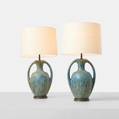 Pair of Danish Amphora Shaped Pottery Lamps