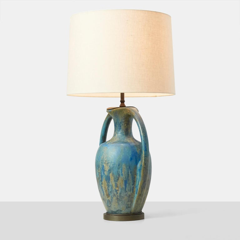 Pair of Danish Amphora Shaped Pottery Lamps In Excellent Condition For Sale In San Francisco, CA