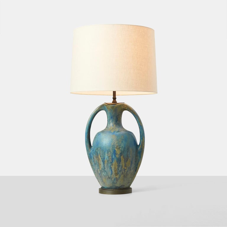 Mid-20th Century Pair of Danish Amphora Shaped Pottery Lamps For Sale
