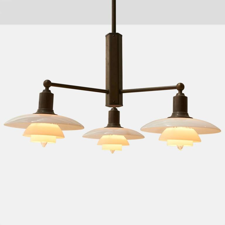 Modern Poul Henningsen Pair of Limited Edition Three-Arm Chandeliers For Sale