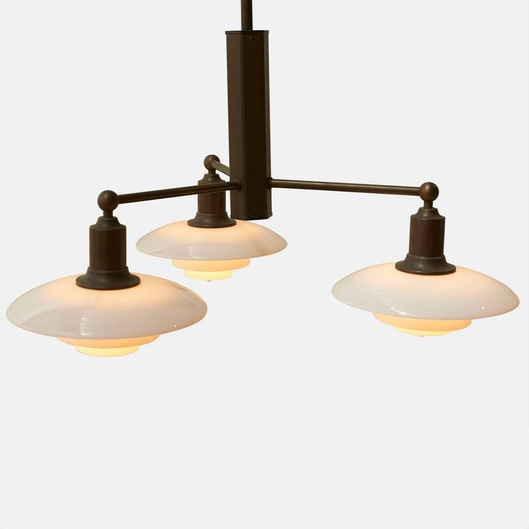 Danish Poul Henningsen Pair of Limited Edition Three-Arm Chandeliers For Sale