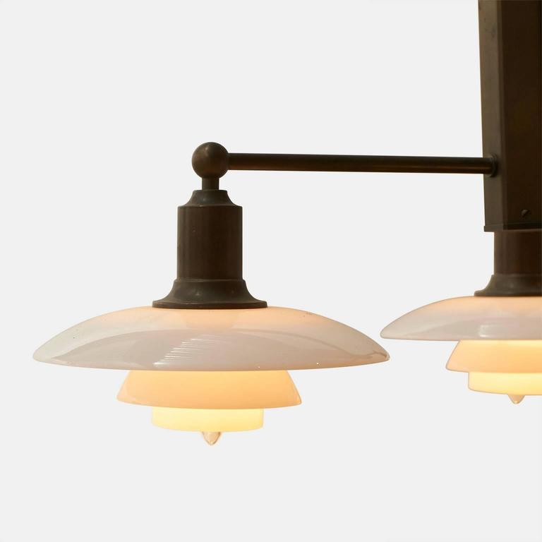 Poul Henningsen Pair of Limited Edition Three-Arm Chandeliers In Excellent Condition For Sale In San Francisco, CA