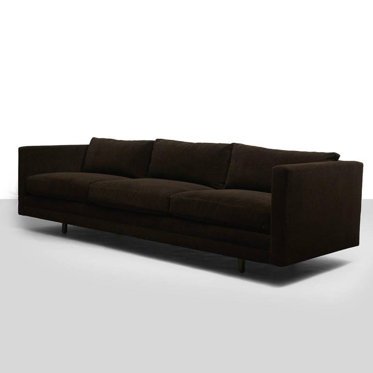 "A long ""Tuxedo"" sofa from the Harvey Probber for modern collection. Recently restored in a brown velvet with down filled cushions. Retains the original label."