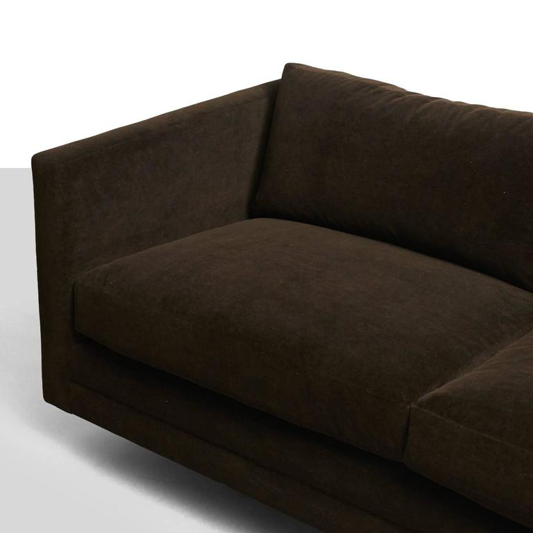 Velvet Harvey Probber, Tuxedo Sofa For Sale