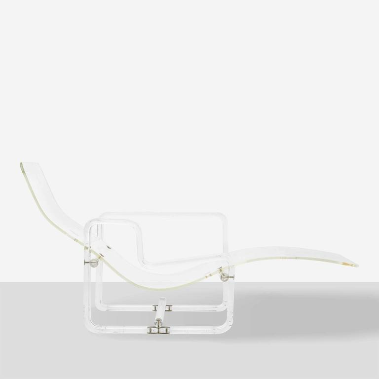Charles Hollis-Jones Attributed Lucite Chaise In Excellent Condition For Sale In San Francisco, CA