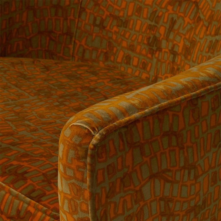 Velvet Milo Baughman Lounge Chair For Sale