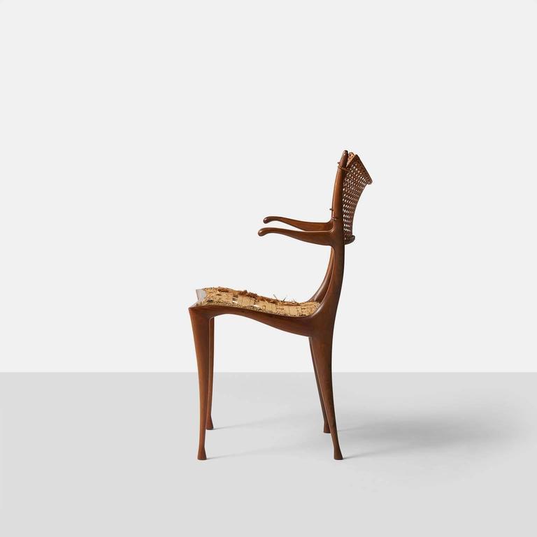 Rare Pair Of Dan Johnson Gazelle Chairs In Italian Walnut