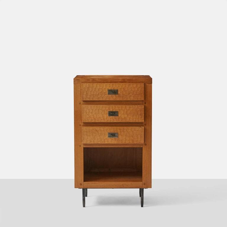 Mid-Century Modern Jean Touret Oak Cupboard For Sale