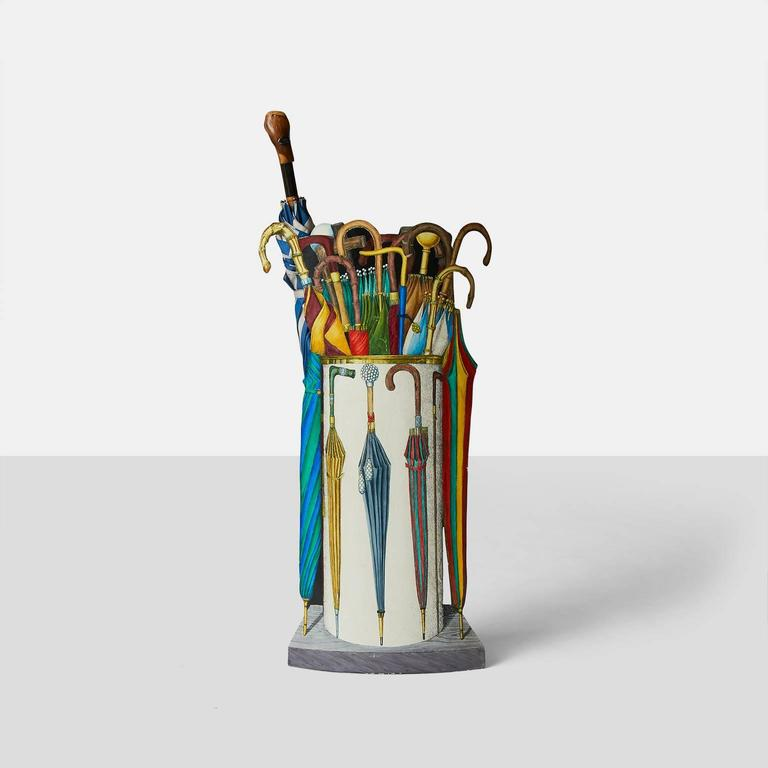 Metal Umbrella Stand by Piero Fornasetti For Sale