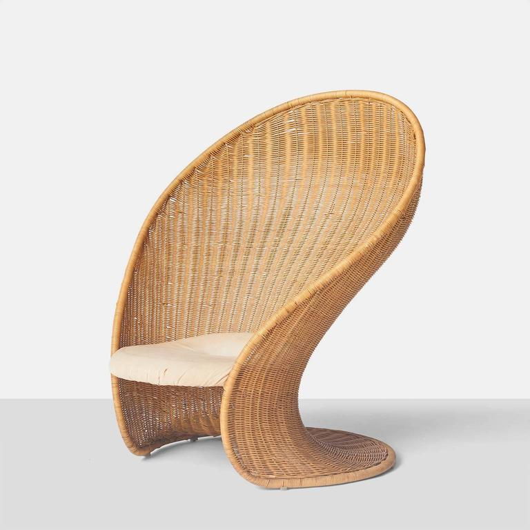 """Foglia"" Wicker Lounge Chair by Giovanni Travasa at 1stdibs"
