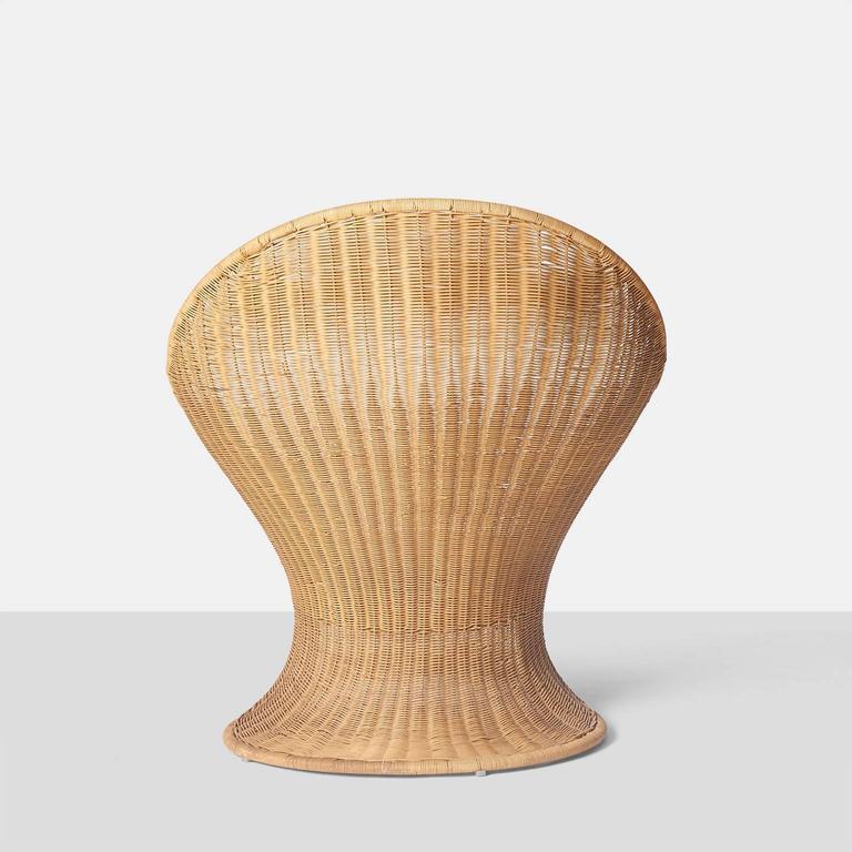 """Foglia"" Wicker Lounge Chair by Giovanni Travasa at 1stdibs"