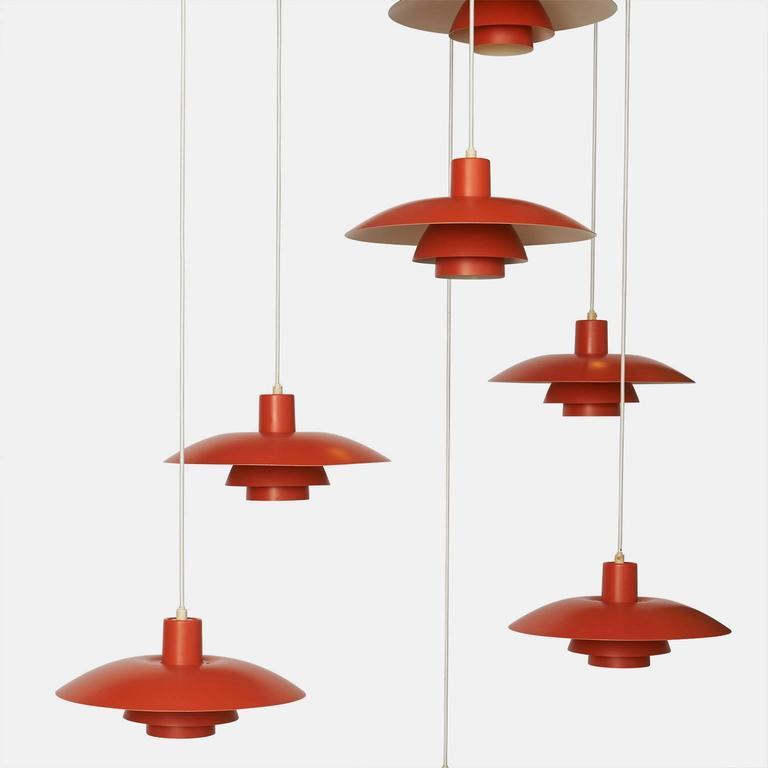 Mid-Century Modern Orange Pendant Ph-4/3 by Poul Henningsen For Sale