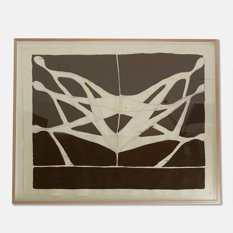 Acrylic on watercolor paper in a custom oak and plexiglass frame by California artist JMARY, circa 2014.  Los Angeles based artist Jennifer Mary Gheur. BFA graduate 1991 Otis College of Art and Design. Began fashion label JMARY,