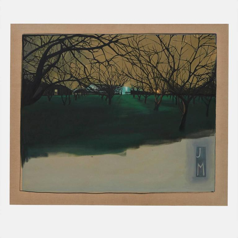 An oil painting on linen of walnut trees at night as seen in Stockton California. Unframed and painted in 2005.  Los Angeles based artist Jennifer Mary Gheur. BFA graduate 1991 Otis College of Art and Design. Began fashion label JMARY,