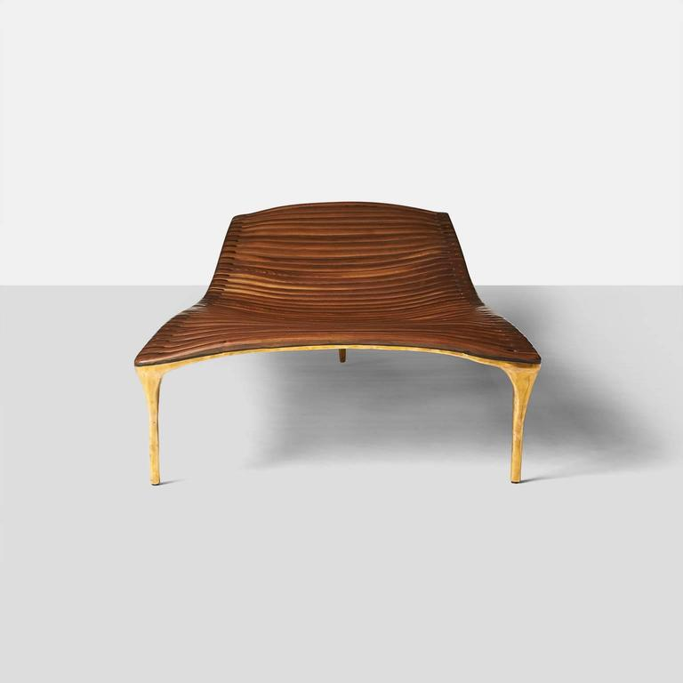 Daybed in Brass and Walnut by Valentin Loellmann In Excellent Condition For Sale In San Francisco, CA
