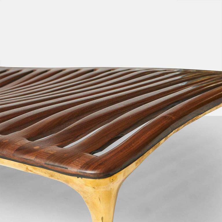 Contemporary Daybed in Brass and Walnut by Valentin Loellmann For Sale