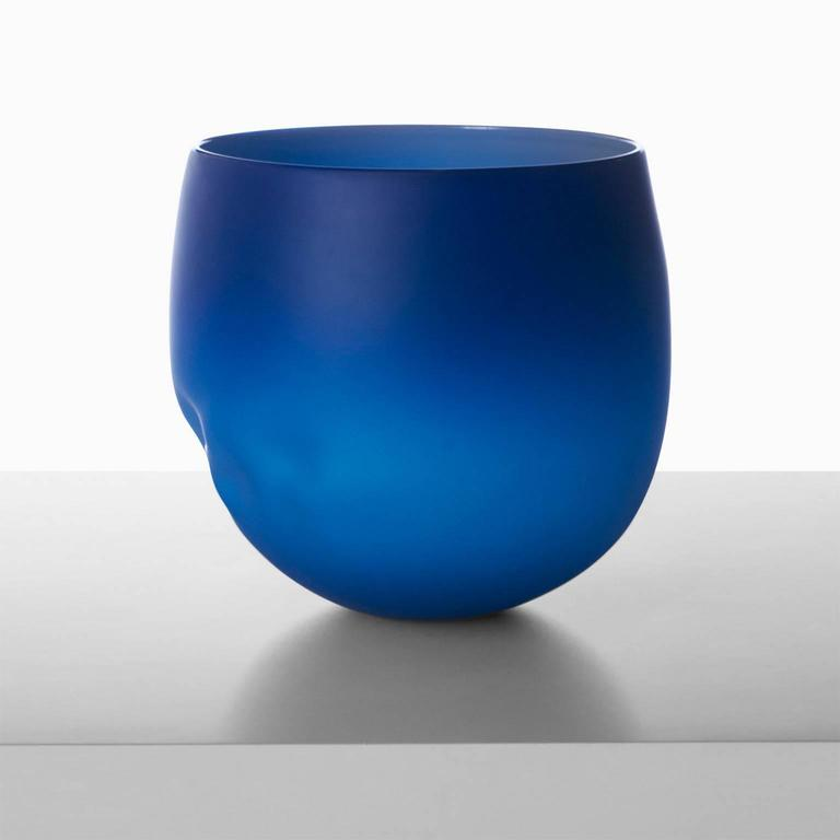 A large-scale free handblown vase in deep blue by noted Parisian glass blower Jeremy Maxwell Wintrebert.