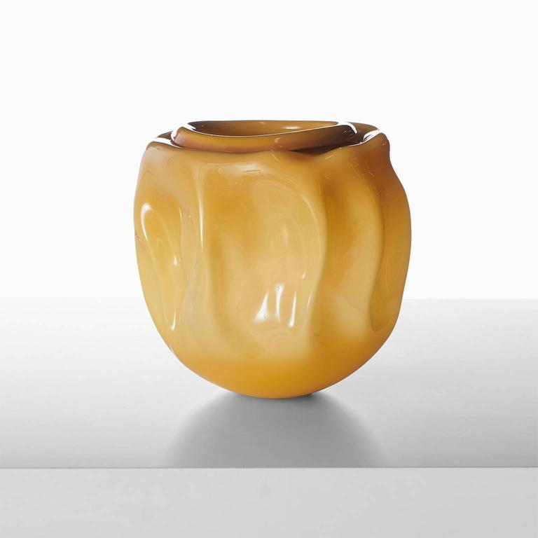 An exceptional free handblown vase in ochre color by celebrated French glass blower Jeremy Maxwell Wintrebert, France, circa 2016.