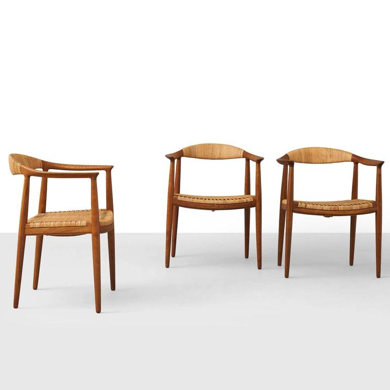 This four wishbone chairs by hans wegner is no longer available - Hans Wegner Quot The Chair Quot Set Of Three For Sale At 1stdibs