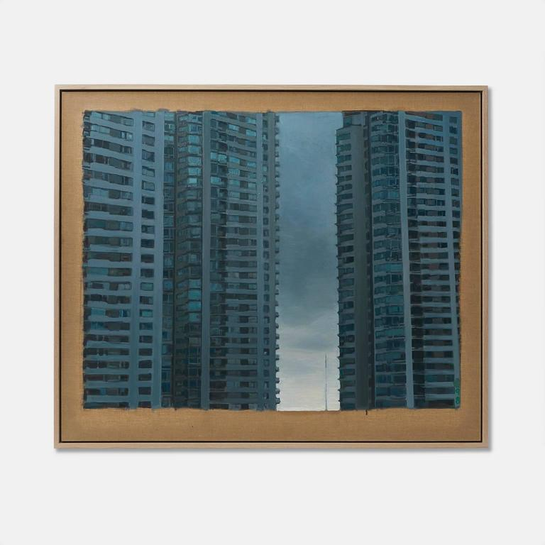 An oil painting on Belgian linen of downtown Brazil by California artist JMARY floating in a custom oak frame, circa 2015.