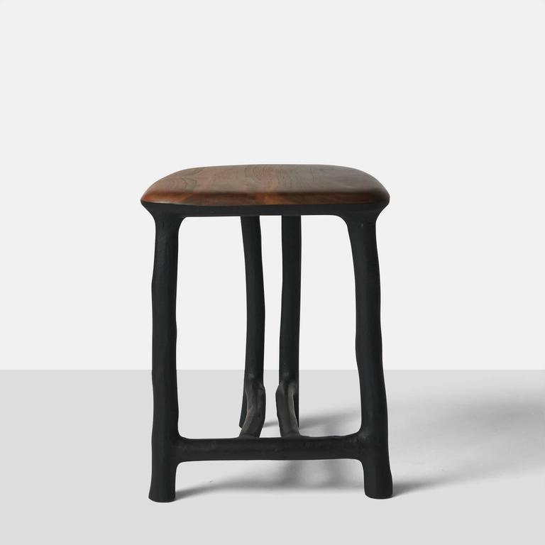 Organic Modern Stool in Walnut by Valentin Loellmann For Sale