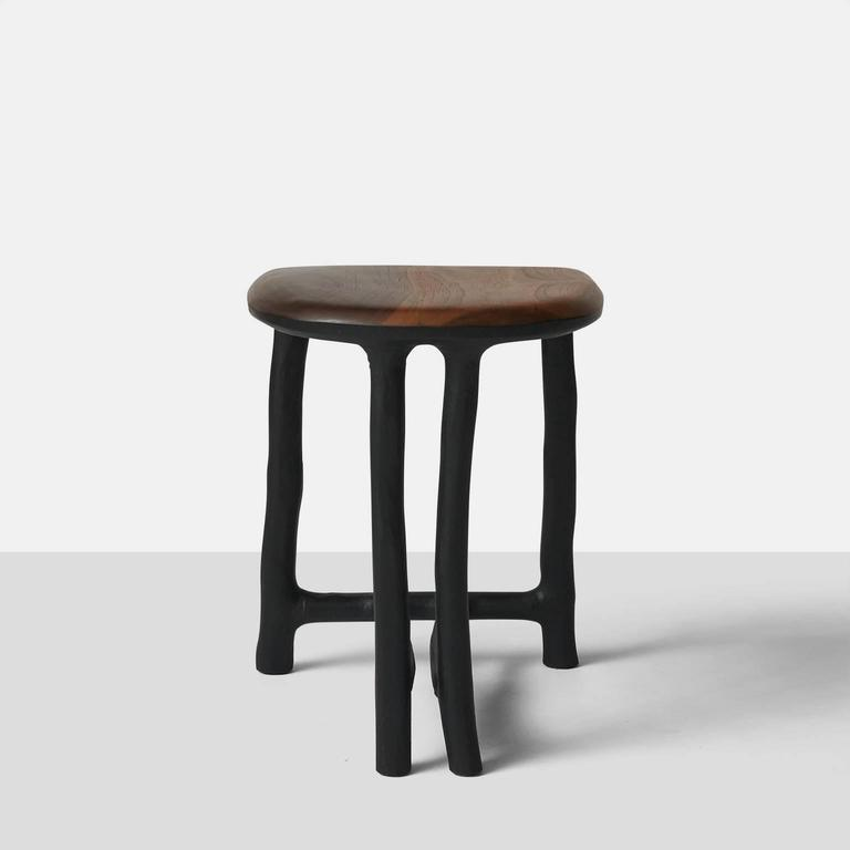 Stool in Walnut by Valentin Loellmann In Excellent Condition For Sale In San Francisco, CA