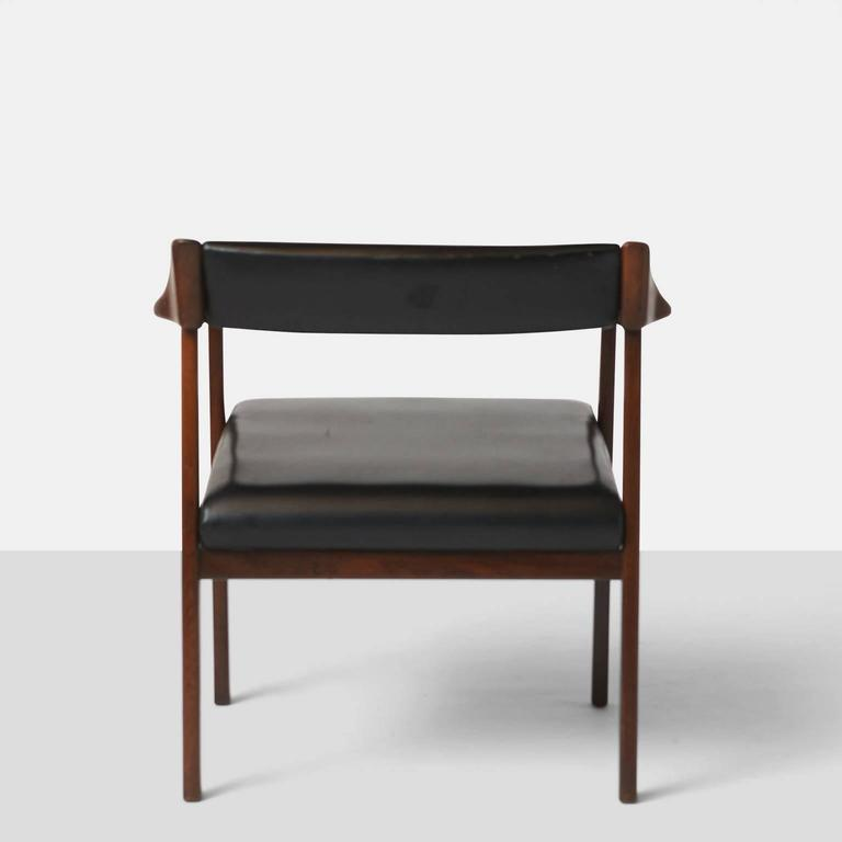 Faux Leather Pair of Lounge Chairs by Joaquim Tenreiro For Sale