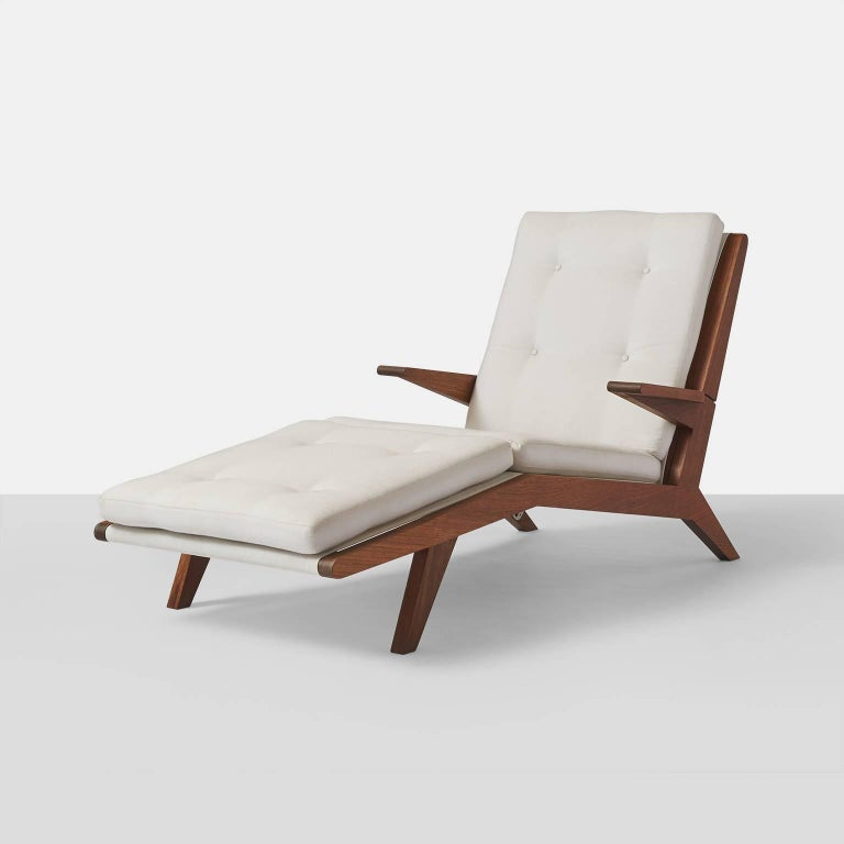 Open-arm chaise longue in solid teak An open-arm adjustable chaise longue with four positions in teak for indoor or outdoor use, drip thru cushions are included. handcrafted exclusively by Almond & Company and shown in COM and oiled finish.