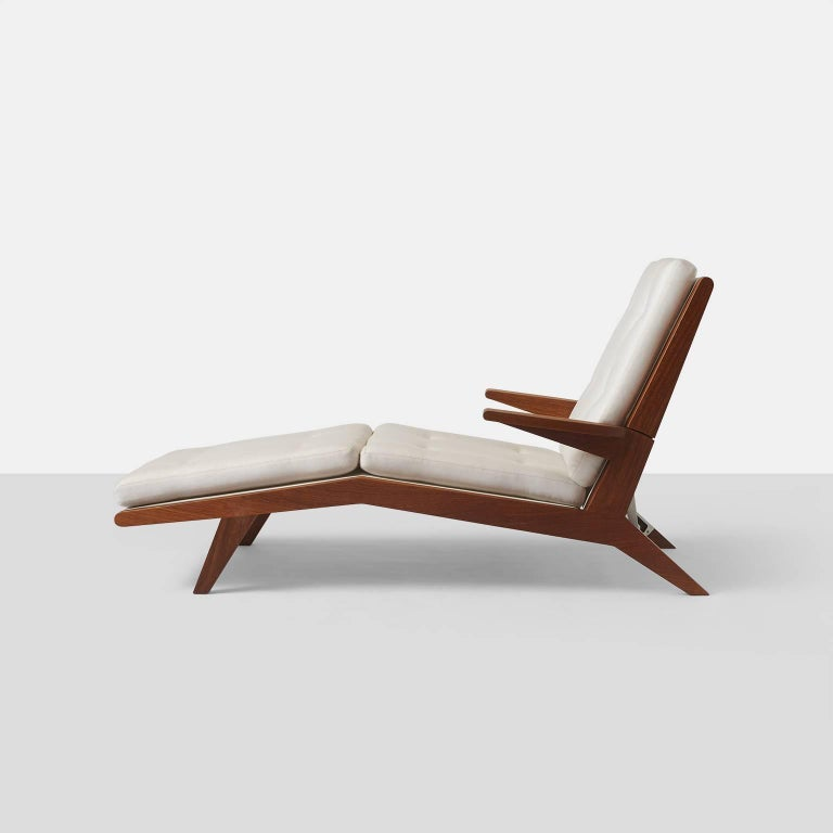 American Open-Arm Chaise Longue in Solid Teak For Sale