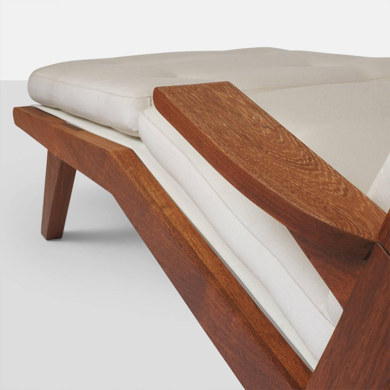 Open-Arm Chaise Longue in Solid Teak For Sale 1