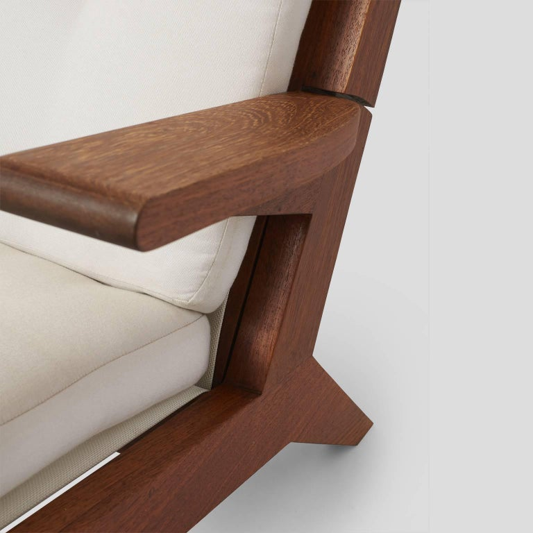 Open-Arm Chaise Longue in Solid Teak For Sale 2