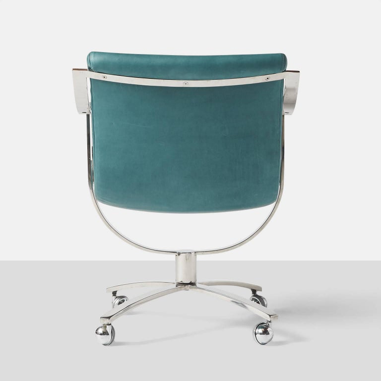 Leather Swivel Chairs by Gardner Leaver for Steelcase For Sale