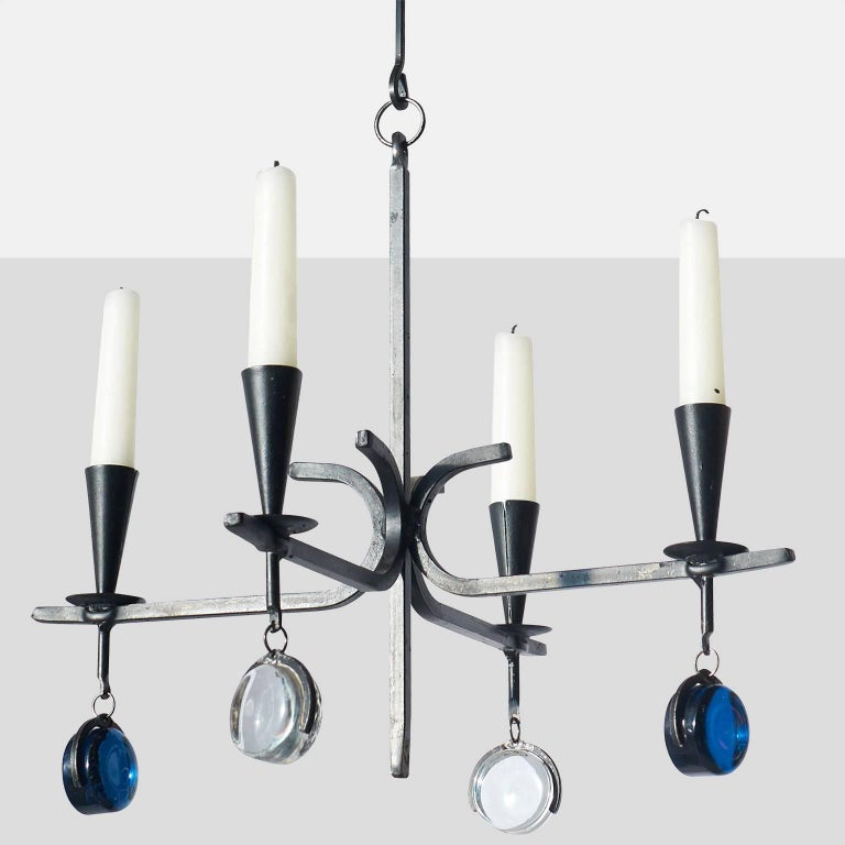 Chandelier with four arms by gunnar ander for sale at 1stdibs an iron candelabra with four arms for candles for kosta boda with blue and clear glass aloadofball Image collections