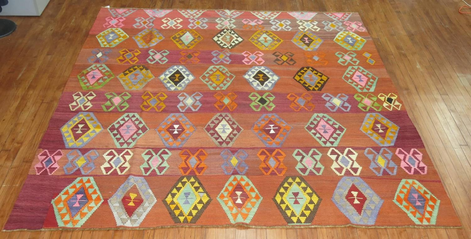 Vintage Turkish Kilim With Colorful Geometric Motifs At