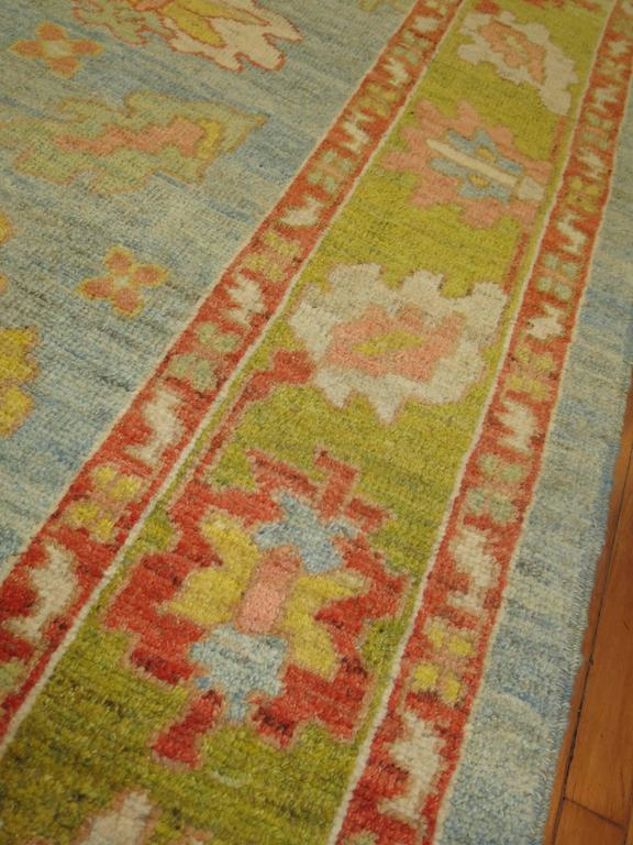 Hand-Knotted Turkish Oushak Carpet For Sale