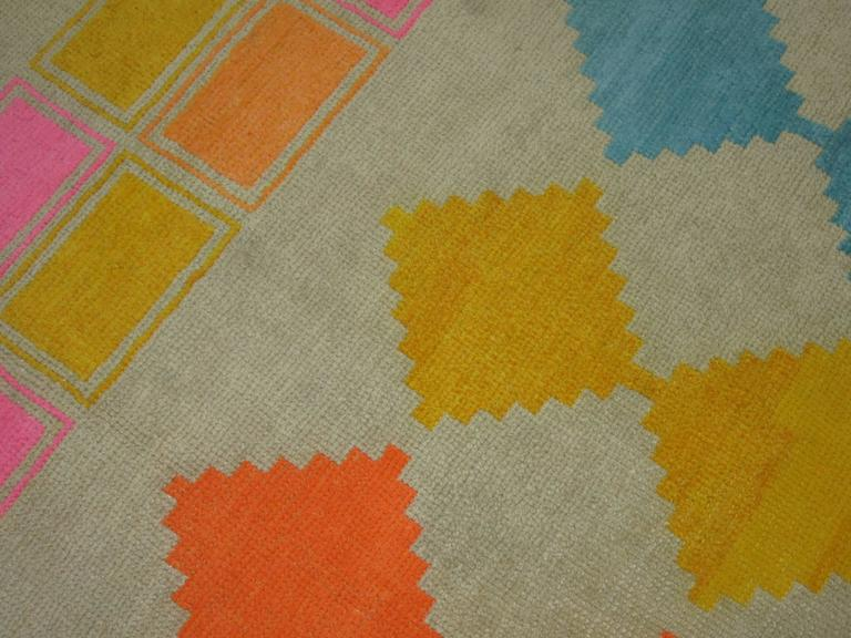 Wool Eclectic Vintage Turkish Rug For Sale