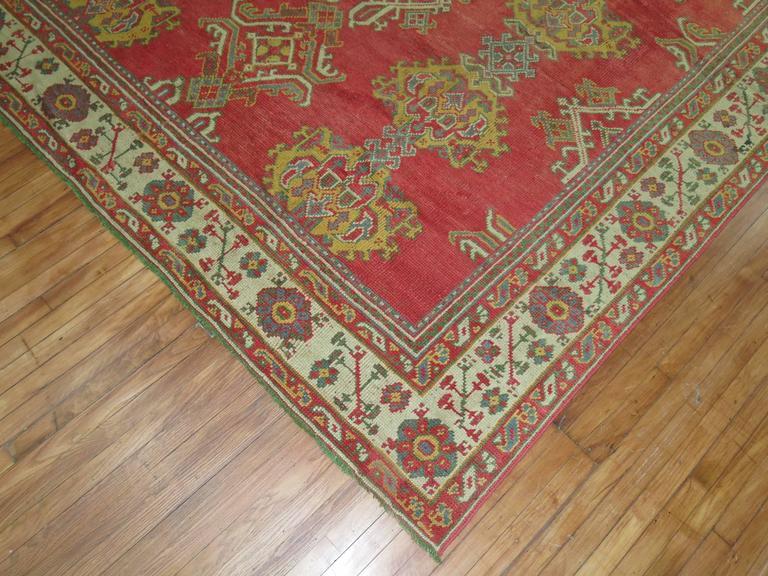 Futurist Room Size Antique Turkish Oushak Carpet For Sale