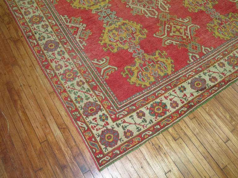 Hand-Knotted Room Size Antique Turkish Oushak Carpet For Sale
