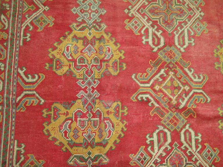 Room Size Antique Turkish Oushak Carpet In Excellent Condition For Sale In New York, NY